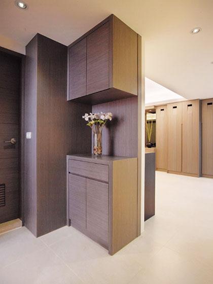现代新中式玄关 原木玄关鞋柜效果图图片