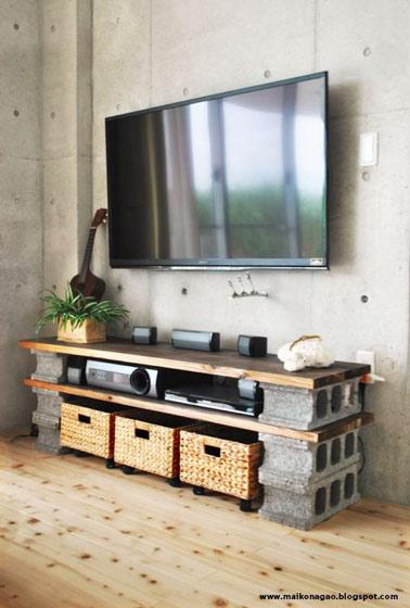 水泥砖电视柜效果图