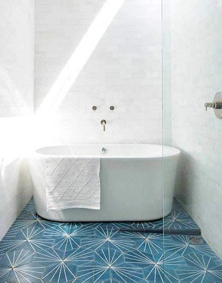 优雅蓝色卫浴间地砖