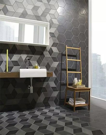 多边形格子卫浴间地砖