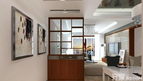 一半设计成酒柜,一半设计成玻璃墙,丰富了客厅隔断内容,适合于面积图片