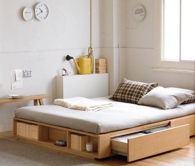 实木收纳床设计图片