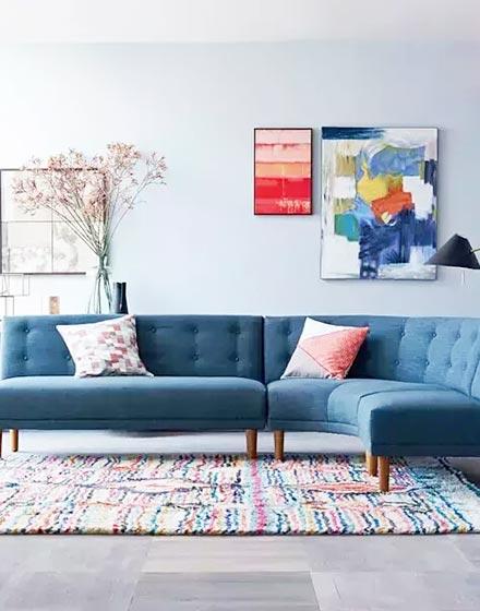 舒适清爽北欧风沙发窗帘效果图图片