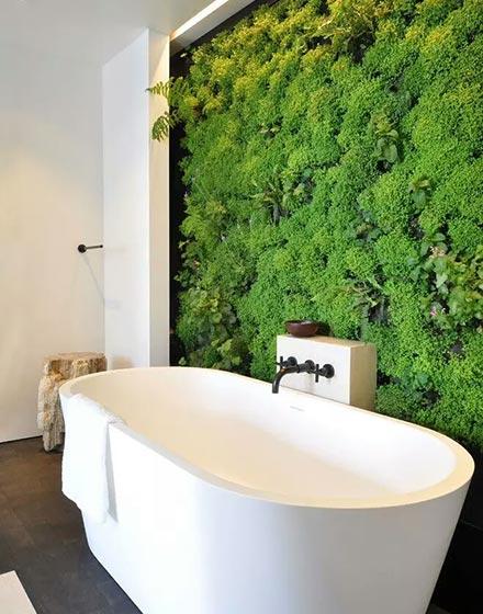 创意满墙绿植点亮卫浴间