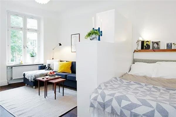 小户型客厅卧室一体隔断