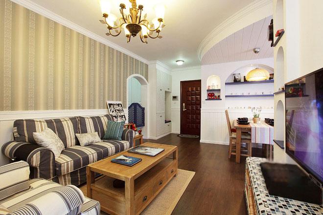 地中海风格70平米婚房平面图