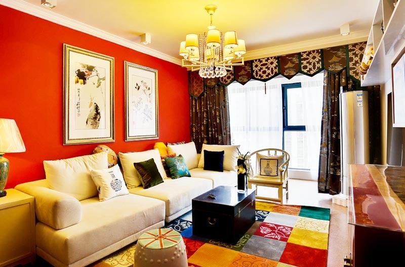 多彩格子系客厅地毯有效吸睛