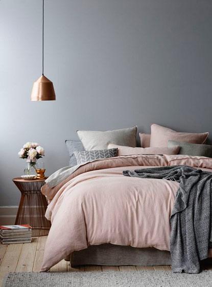 灰色粉色北欧卧室