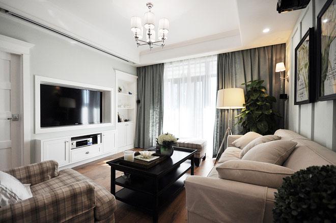 典雅美式风格装修客厅电视墙设计