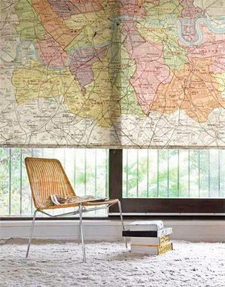 创意地图元素窗帘设计