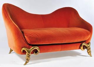 橙色柔软沙发效果图