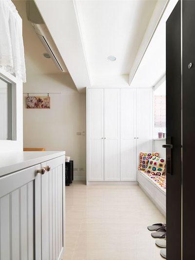 55平米田园风格客厅玄关设计