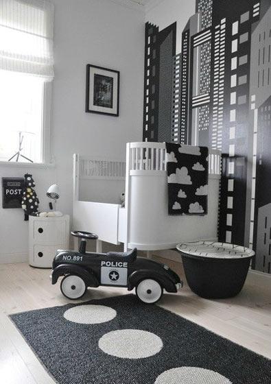 黑白时尚儿童房效果图