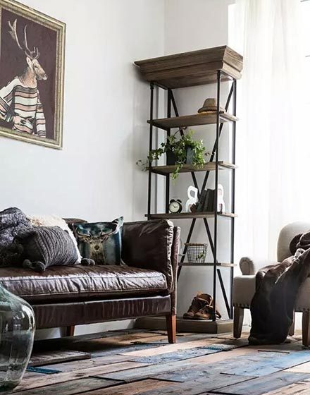 暖棕色客厅皮质沙发