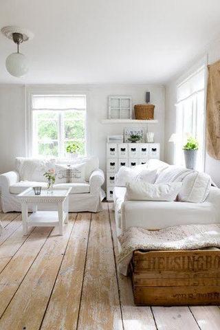 简约米白色客厅沙发效果图