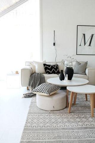 北欧米色客厅沙发效果图
