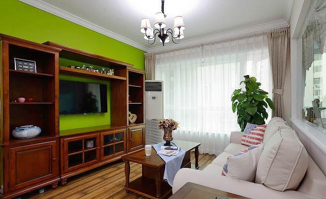 美式田园风混搭客厅 电视背景墙设计