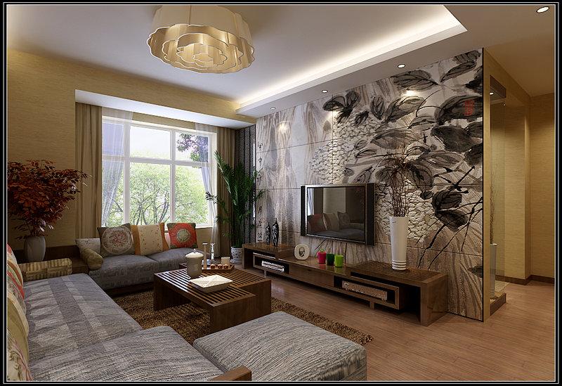 80平米中式二居室装修效果图,唐宫尚品装修案例效果图图片