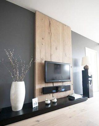 客厅木质电视背景墙