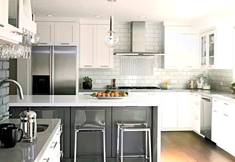 现代简约厨房吧台设计效果图