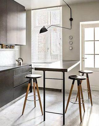 明亮厨房吧台设计效果图