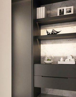 深灰色现代简约风 餐边柜效果图