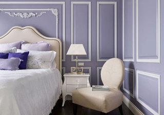 浪漫新古典卧室 浅紫色背景墙设计