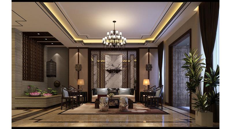 20万以上130平米中式大户型装修效果图,中式家装装修