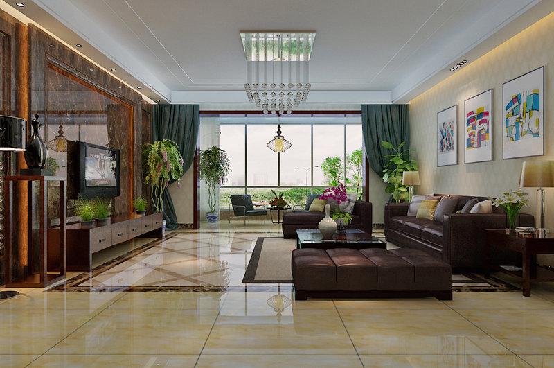 15 20万130平米中式三居室装修效果图,中国风装修案例效果图 齐家高清图片