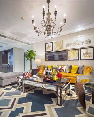 美式复古客厅装修效果图