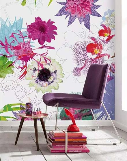 清新客厅壁纸装修设计图片
