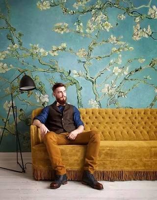 复古客厅壁纸装修效果图