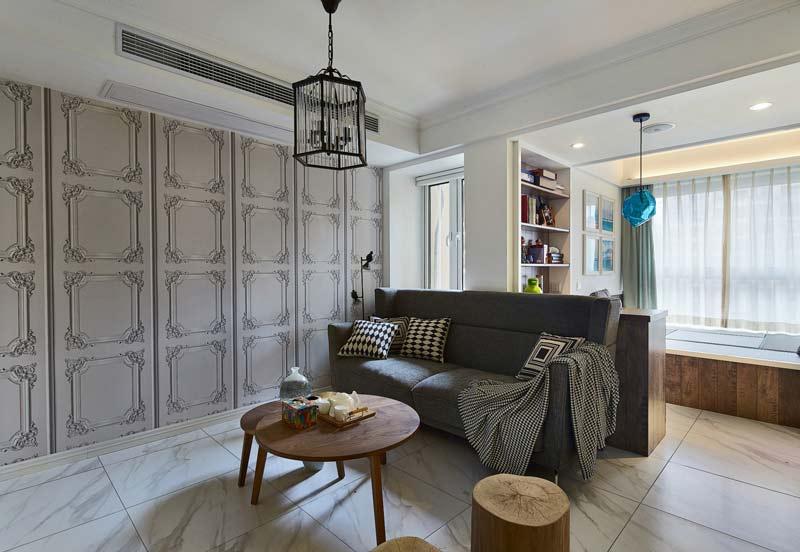 简约风格灰色调客厅装修效果图