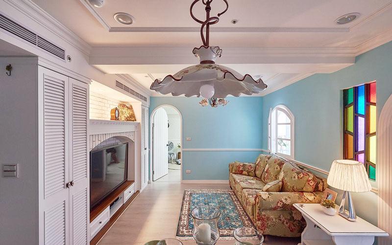 浪漫地中海风情客厅吊灯效果图