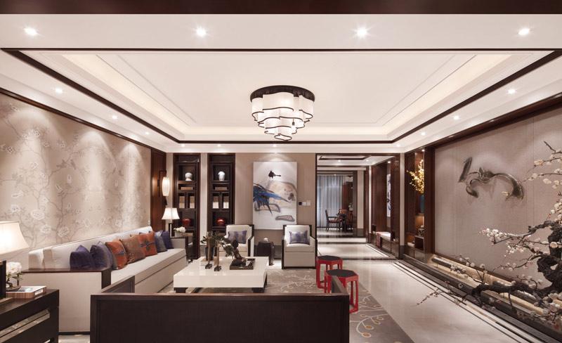 豪华典雅中式客厅 线条吊顶效果图