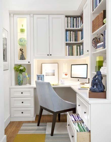 简约书房转角书桌图片