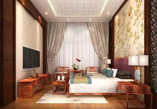 中式风格卧室床头背景墙壁纸图片