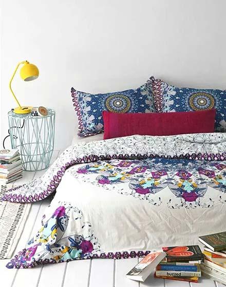 民族风卧室床品装修图