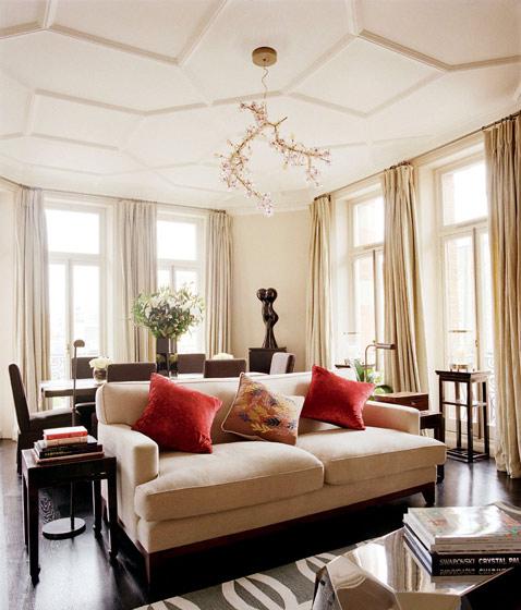 米白色客厅吊顶装修效果图