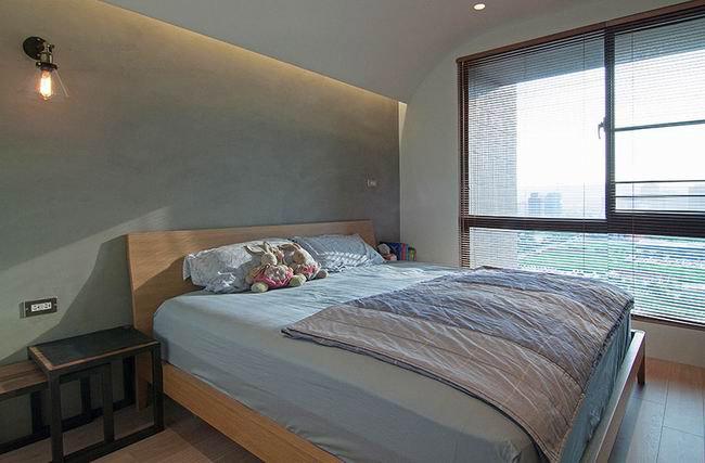 自然轻工业卧室 水泥背景墙设计
