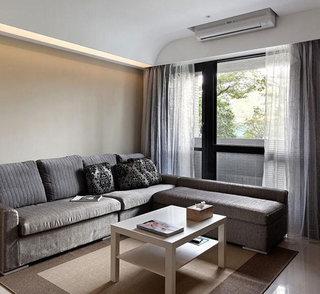 温馨简约风客厅 灰色布艺沙发图片