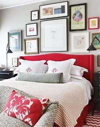 优雅红色卧室床图片