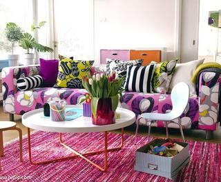 彩色布艺沙发图片