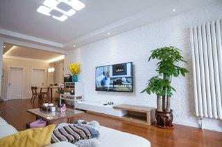 美式客厅文化砖电视背景墙装修图片