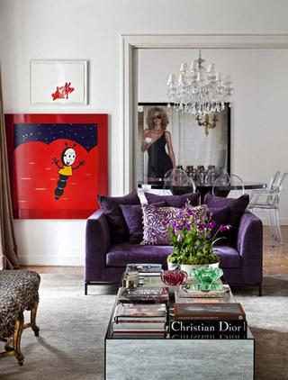 浪漫紫色客厅双人沙发图片