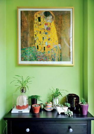 绿色背景墙装饰画效果图