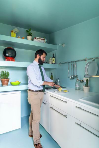 清新环保色厨房装修效果图