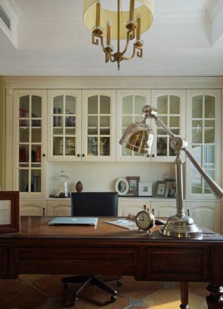 复古美式书房 整体书柜效果图