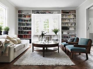 复古北欧风客厅 整体书柜效果图