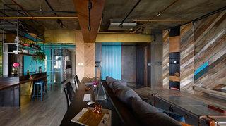 工业风公寓客厅吊顶装修效果图